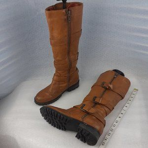 100%LEATHER distressed cognac zip up calf boot 8us